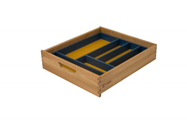 Medinis stalčius, geltonas dugnas su mėlynu stalčiaus įdėklu