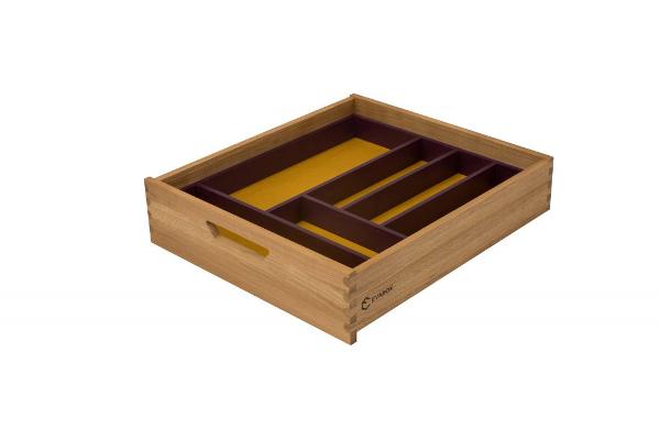 Medinis stalčius, geltonas dugnas su violetiniu stalčiaus įdėklu