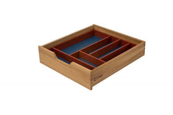 Medinis stalčius, mėlynas dugnas su raudonu stalčiaus įdėklu