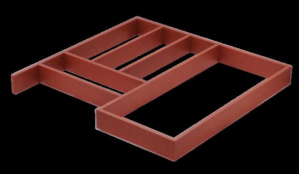 Raudonas stalčiaus įdėklas virtuvei